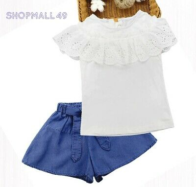 Girls Kids Set Summer Outfits 2pcs Lace Top Shorts Toddler sets  Age 3-13 years