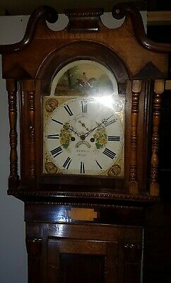 19thC Welsh LONGCASE CLOCK Painted Face 8 day North Wales