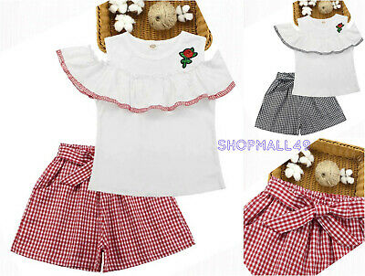 Girls Kids Set Summer Outfits 2pcs Ruffled Top Shorts Toddler sets  Age 3-12 yrs