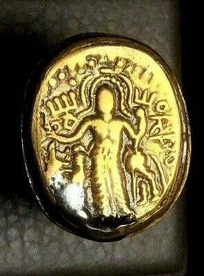 Original TOP Detail Ancient King Parthian ruler hold Weapon Gold Plated ring