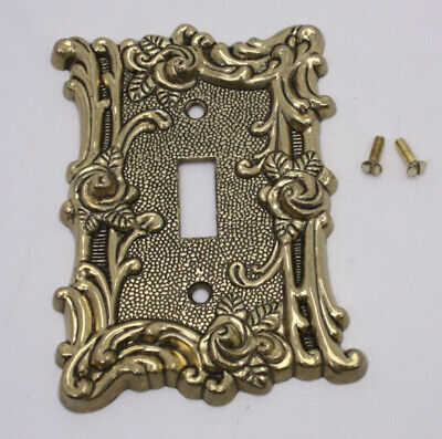 Antique Vtg Brass Metal Light Switch Cover Amertac with Hardware