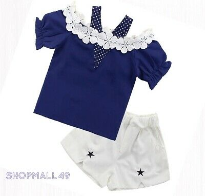 Girls Kids Set Summer Outfits 2pcs Lace Top Shorts Toddler sets  Age 3-12 yrs