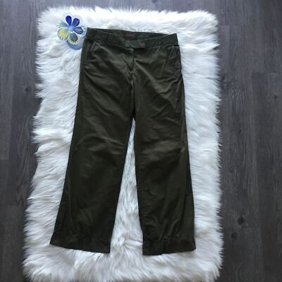 J. Crew Classic Chino Relaxed City Fit Army Green Trouser Pants Women's Size 8 S