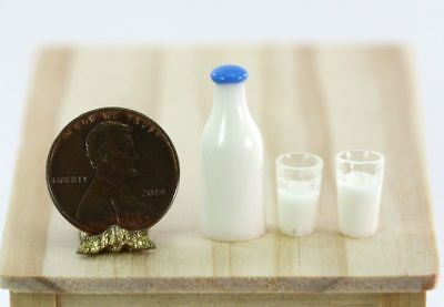 1:12 Dollhouse Miniature Filled Pitcher /& 2 Filled Glasses of Milk #SD89094A