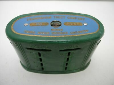 Framingham Trust Company Massachusetts Green Swirl Traveling Teller Coin Bank
