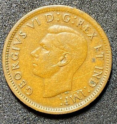 1937 Canada One Cent Copper Circulated Canadian Coin  (1323)