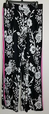 INC Womens Sz Small Black White Floral Pink Side Stripe Polyester Wide Leg Pants