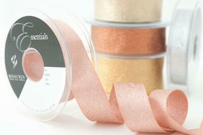 Berisfords Metallic Glitter Sparkly Lame Ribbon ~ Silver Rose & Dark Gold Copper