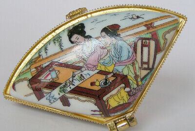 FREE SHIPPING Porcelain Jewelry box painted ancient Chinese girl drawing picture