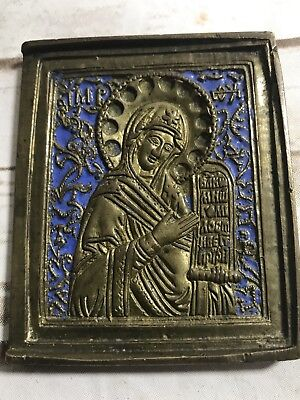 Travel Icon Saint Nicholas Russian Brass Enamel double sided crosses Antique