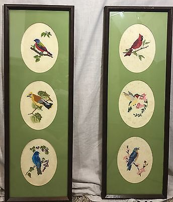Birds Kitsch Cross-stitch 2 Vintage Finished  Framed W/ Glass