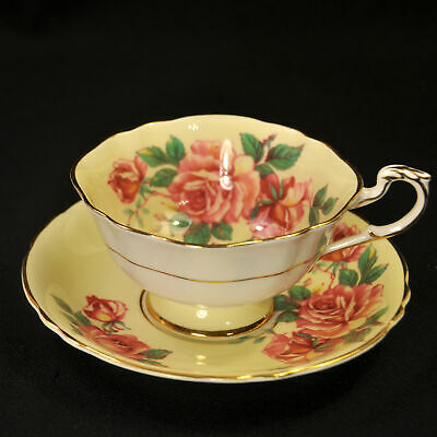 Paragon Footed Cup Saucer Set Red Large Roses on Yellow w/Gold Trim 1952-1960