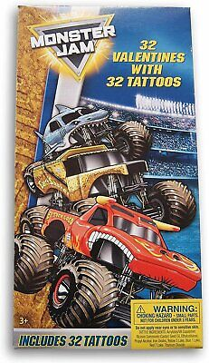 Monster Jam 32 Count Valentines with 32 Temporary Tattoos