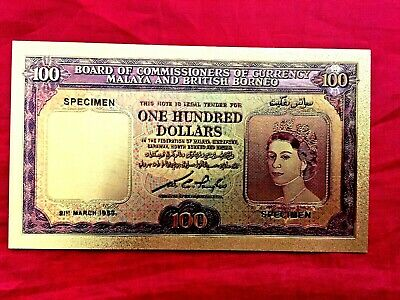 WR Malaya /& British Borneo $10 Dollars Gold Foil Banknote Old Buffalo Note Gifts