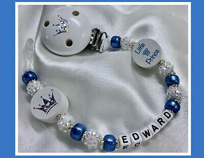 ♕ Personalised DUMMY CLIP Max 10 letters ♕ LITTLE PRINCE ♕ SKY BLUE & Sparkle ♕
