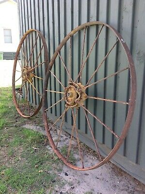 Antique Matching Pair Wagon Wheels