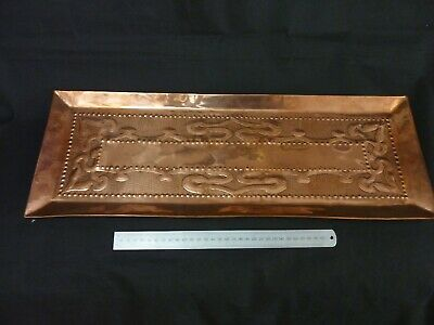 Large Embossed Copper Art Nouveau Tray Arts And Crafts