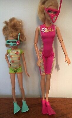 Barbie And Stacie Dolls Snorkel Fun Mattel