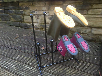 Wrought Iron Black Metal Family Child Welly Wellington/ Walking Boot Rack Stand