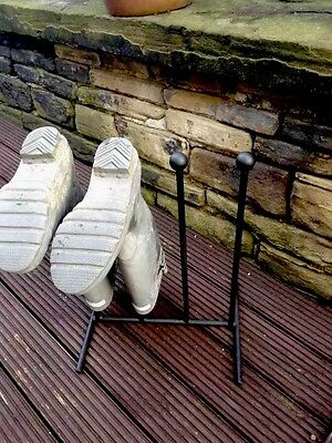 2 Pairs Wrought Iron Welly Wellington Boot Rack Stand 3/4/5/6 Available