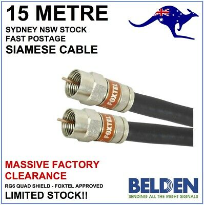 15m - Genuine Foxtel Approved Siamese Belden RG6 Quad Shield Coax Cable