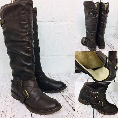 Womens OFFICE Leather Knee High  Fur Lined Brown Flat Comfy Riding Boots 40 UK7