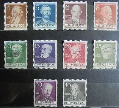 GERMANY (Berlin) 1952 Famous Berliners, Complete Set of 10 Used