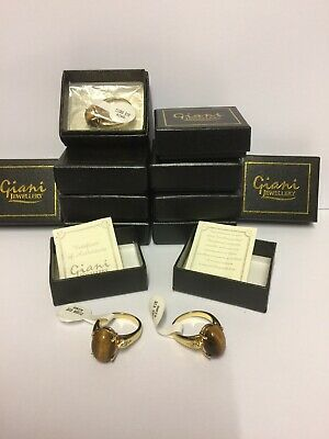 Job Lot Wholesale ladies Gold Plated Tiger Eye Rings RRP £31.99 Each All SIZE V