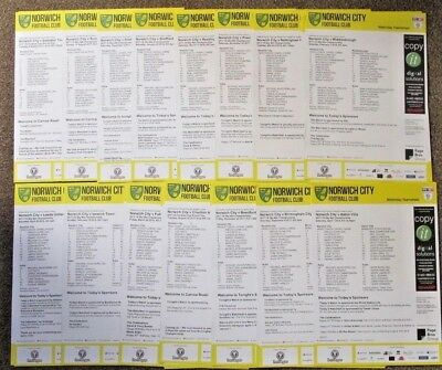 2017/8 Norwich City Home Teamsheets. Choose from list. Inc Villa Cardiff Ipswich