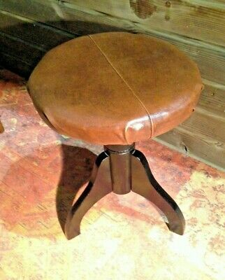 Vintage Piano Stool / Revolving Leather Piano Stool