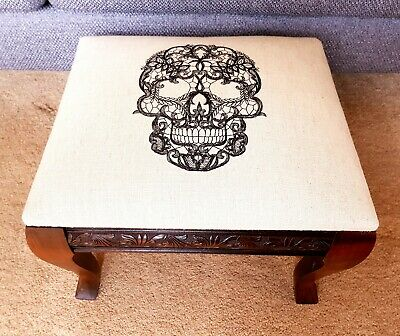 Victorian antique footstool With Skull Embroidery