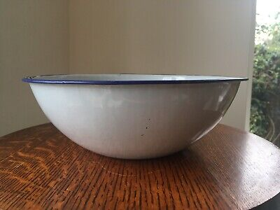 "10"" Vintage Blue & White Enamel Tin Bowl. Mixing Salad Antique Kitchen French"