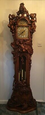 Grandfather Clock: baroque style, hand carved walnut (Consonni of Milano, Italy)