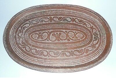 ideal gift Hand Beaten Copper Tray Platter Arts & Crafts? Antiques vintage retro
