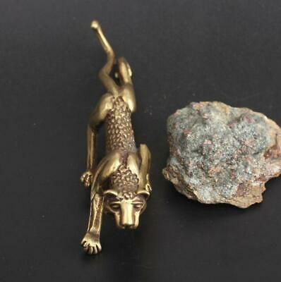 Chinese antique Exquisite Collection Asian Brass leopard Pen holder statue Gift