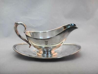 Vintage Gorham Colonial Hollowware Silverplate Gravy Boat  Attached Tray Y430
