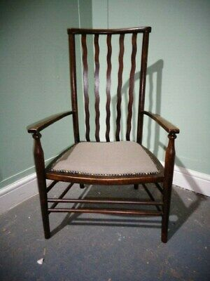 ANTIQUE LIBERTY of LONDON FIRESIDE CHAIR c1918-39 VINTAGE ARTS & CRAFTS CHAIR