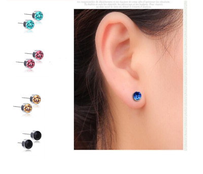 Surgical Steel CRYSTAL EAR STUDS Earrings Various Colours Piercing Silver Pair