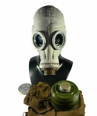 Soviet Russian USSR Military Gas Mask GP-5 Grey Rubber 40mm Filter