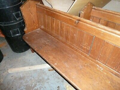 "Reclaimed Church Pew 9'-2"". Long  Pine Seat Bench Solid Wood"