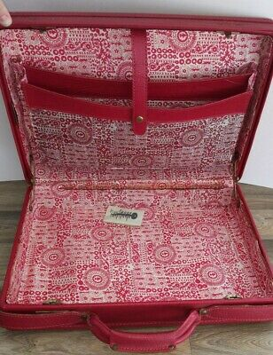 Vintage Hartmann Red Faux Leather Travel Briefcase Suitcase Luggage 60' 70's Key