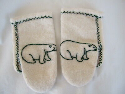 VTG Inuit wool handmade embroidered MITTENS cream green small