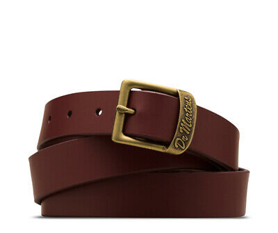 DR. MARTENS THIN 25MM CHERRY RED BUCKLE BELT, (Medium)