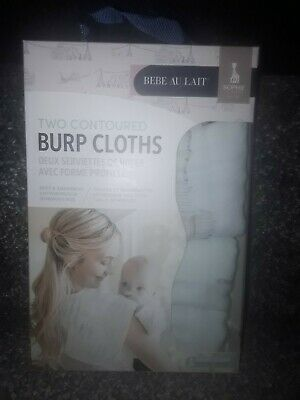 Bebe au lait limited edition two contoured baby burp cloths brand new