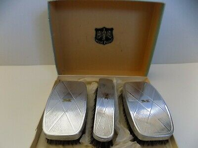 "Vintage Art Deco ""West Point"" Men's 3 Pc Grooming Brush Set with Original Box"