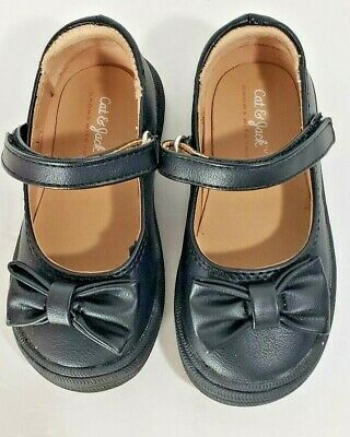 Cat & Jack Toddler Girls Mary Jane's Shoes Faux Leather Size 6 Bows Black