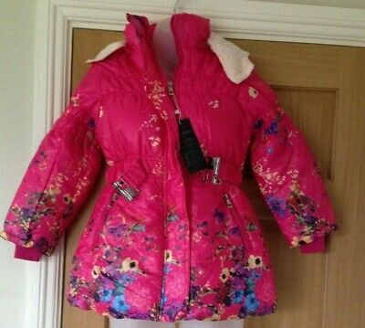 New - Fashion Girls Pink Floral Hooded  Fleece Lined Padded Coat- 12 Years