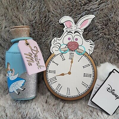 New Alice in Wonderland bottle toy Drink Me  Zipped Purse, Cheshire cat clock f