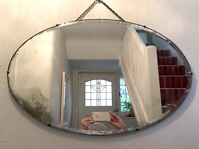 Vintage Art Deco Oval Frameless Bevelled Wall Mirror 1930s 1920s Chain 71 x 46cm