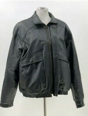 Joshua Ross Mens Leather Jacket Coat Black Large